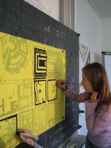 Der Stadtplan wird nachgezeichnet. (Gehring 2007)