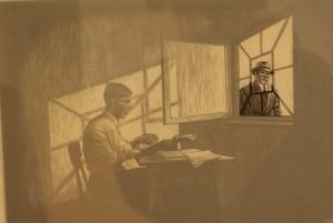 Glausers Schreibsituation mit erscheinendem Wachtmeister Studer