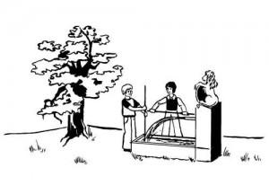 Zeichnung von Wagenschein zum Fallgesetz im Brunnenstrahl